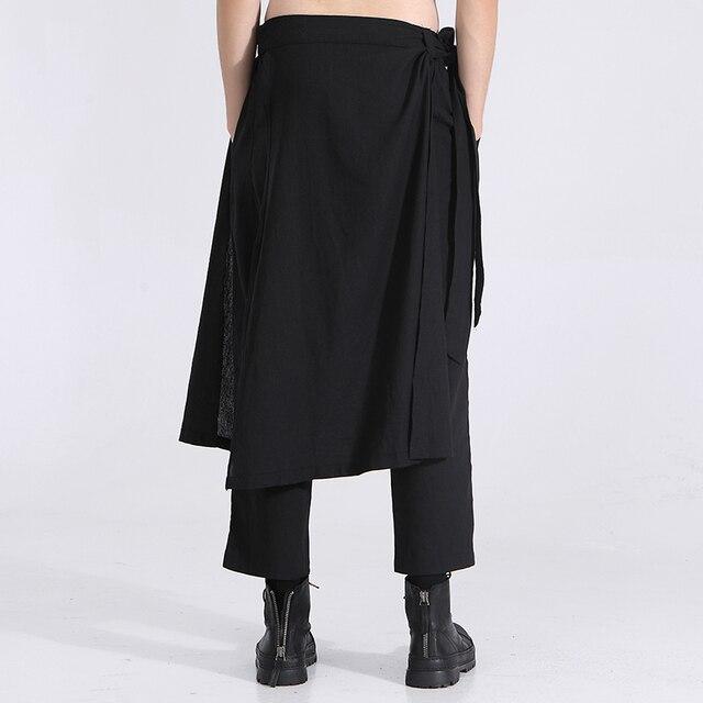 Owen Seak Men Casual Cross Pants Cotton Gothic Skirt Men's Clothing Summer Women Ankle-Length Pant Loose Black Pants Size XXL 2