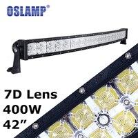 Oslamp Curved 7D 42inch Led Light Bar+Daytime Running Light Combo 400W Offroad Driving Led Light 12v 24V Car SUV Pick-Up Led Bar