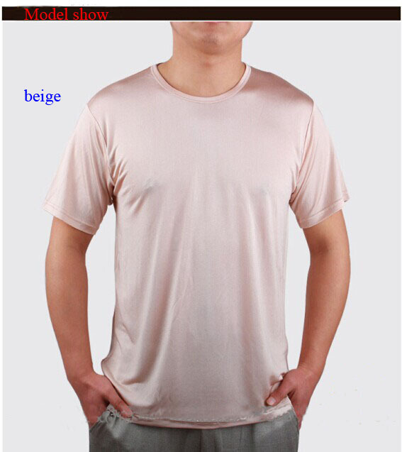 100 natural silk male short sleeve t shirt pure silk o