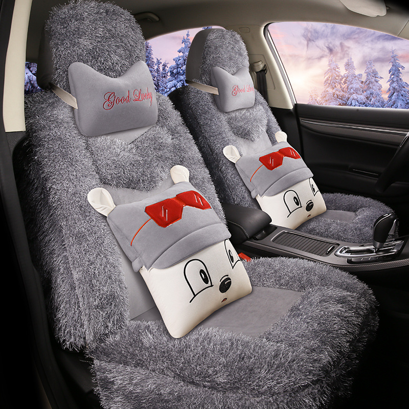 Mode mignon Hello Kitty accessoires de voiture cachemire Decoracion Para Coches Asientos chaud hiver housse de siège de voiture universel