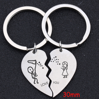 A Pair Fashion Heart Keychain Engraved Love You Stick Figure Lover For Couple Lovers Trendy Gift Lovers Exclusive Key Ring