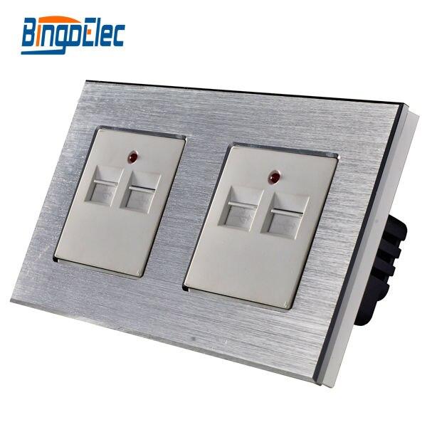 цена на CE Certification AC100-240V,5V 3.1A 3100MA Double USB wall socket silver aluminum panel socket ,Hot Sale