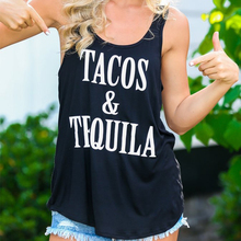 Tacos and Tequila Racerback Tank Tops Women Sleeveless Tank Tops Graphic Tee Summer Top Causal Shirts Girls Printed T-shirts cheap sofievalkiers COTTON Broadcloth None REGULAR Letter Sexy Club