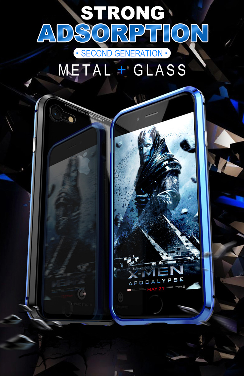 Magnetic Case for iPhone X 8 Plus 7 6 6s Plus Luxury Metal Magnet Bumper Phone Tempered Glass Back Adsorption Flip Cover