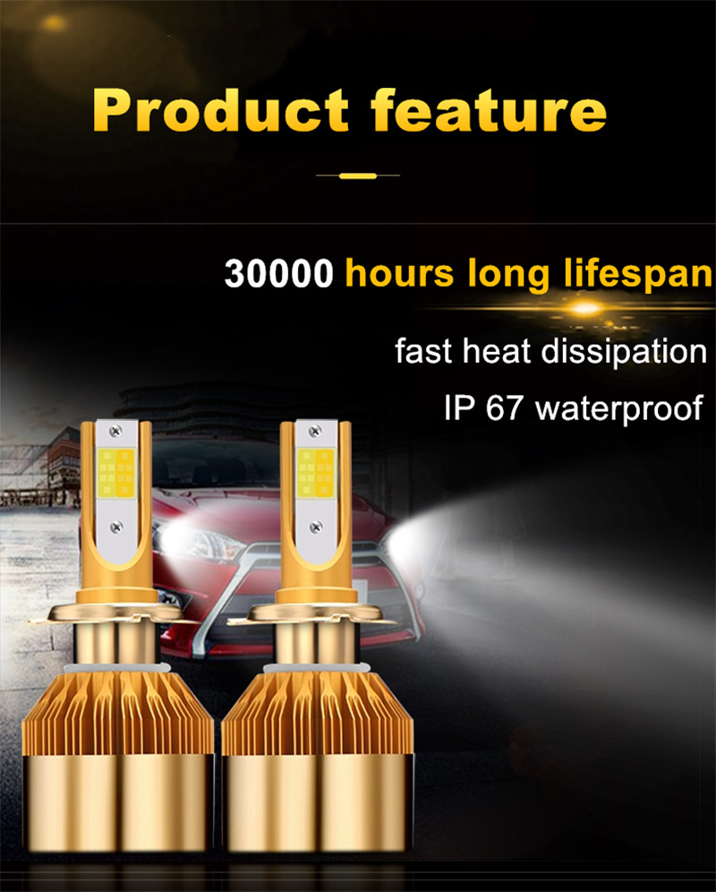 CROSSLEOPARD White Gold Color 12V 10000LM H4 H7 H1 H8 H9 H11 Led Car Headlight 3000K 6000K Dual Color Led Headlamp Auto Bulbs  (5)