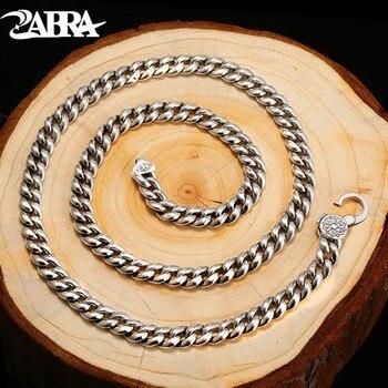 ZABRA Religion Solide 925 Sterling Silber Halskette Männer Buddhismus Mantra Hohe Poliert Lange Kette Punk Retro Stil Biker Schmuck