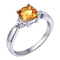 1 Carat Natural Citrine Ring 925 Sterling Silver Yellow Crystal Woman Fashion Fine Elegant Princess Birthstone Gift SR0298C