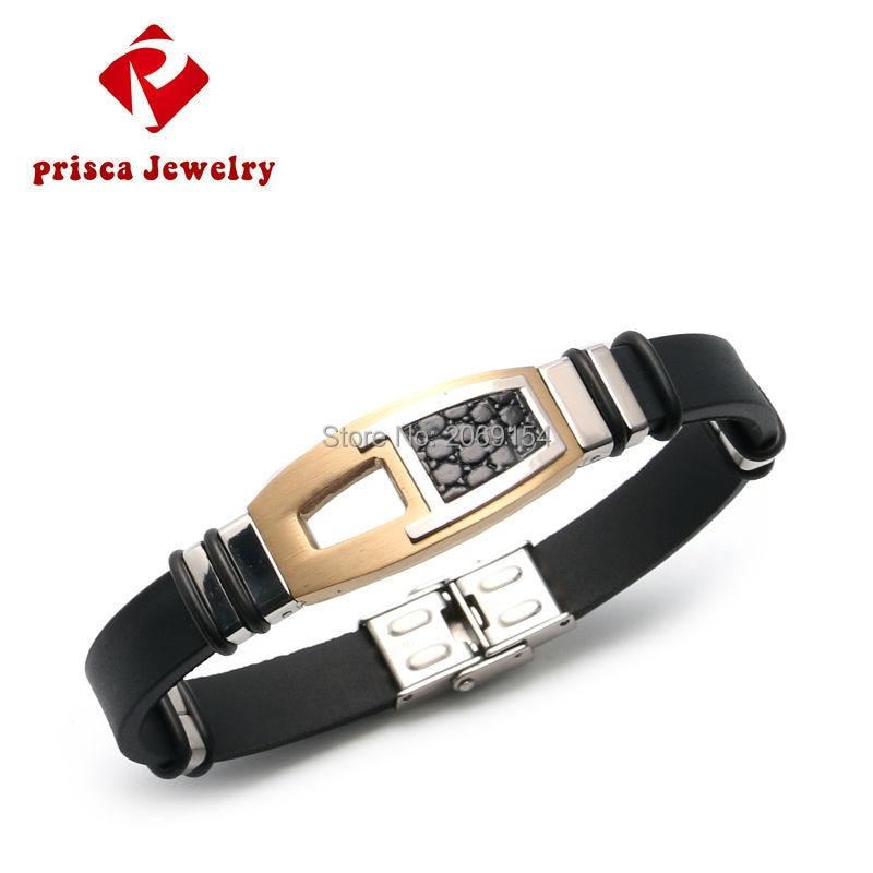 Pulseira de aço inoxidável pulseira de silicone de ouro pulseira de borracha elo corrente para homem jóias legal corrente de aço inoxidável
