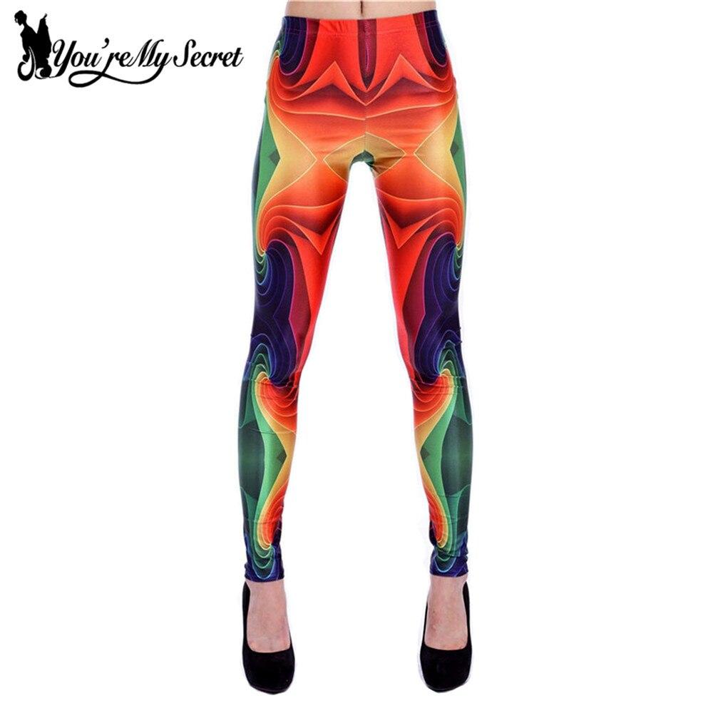 [You're My Secret] Fashion Print Women Plus Size Leggins Geometric Knitted Fashion Skinny Slim Leggins Mujer Legging Women Pants