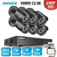 ANNKE 8CH HD 1080P Video Security System 1080N H.264+ 5in1 DVR With 6X 2MP TVI Bullet Weatherproof Outdoor Camera Home CCTV Kit