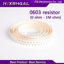 300 шт. 0603 SMD 1/8 Вт 0 Ом ~ 10 м ом Резистор Чип резисторы 0R 1 К 4.7 К 4K7 10 К 100 К