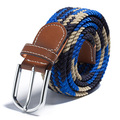 Women Men Unisex Woven Leather Elastic Stretch Pin Buckle Waist Belt Canvas Band