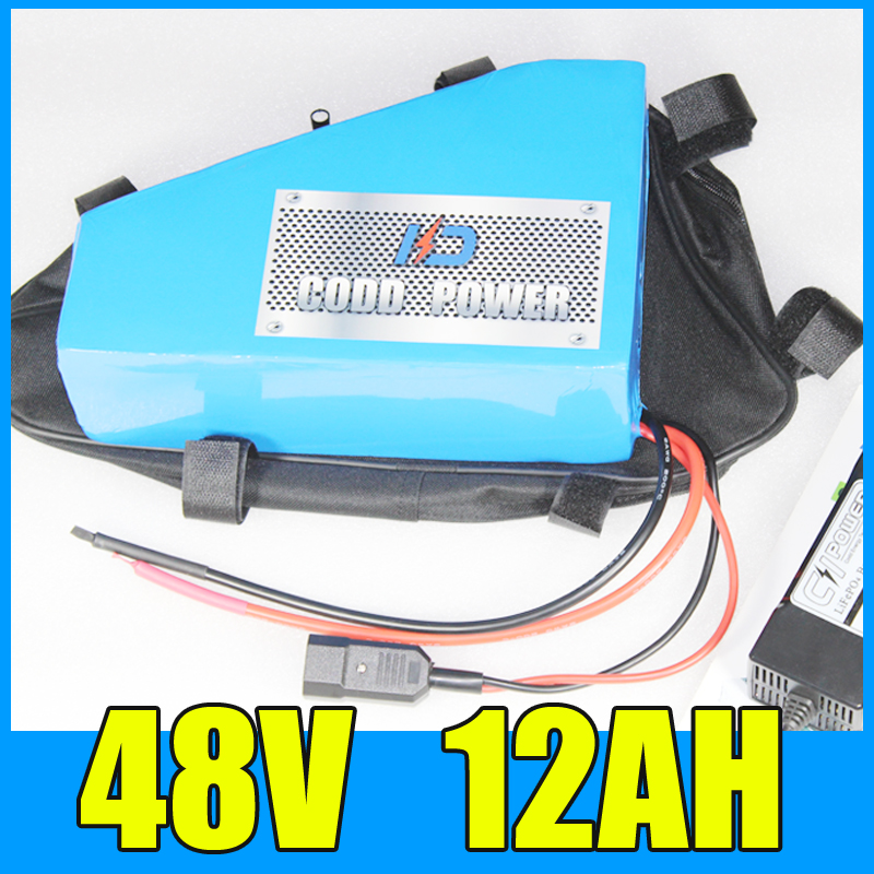 electric bike battery 48v 12ah Triangle lithium ion 48V 500W Free BMS Charger shipping and duty free shipping customs duty hailong battery 48v 10ah lithium ion battery pack 48 volts battery for electric bike with charger