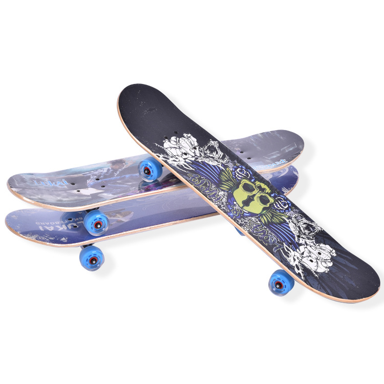 Four Wheel Skateboard Double Rocker Skate Board Maple Wood Road Adult Children General Professional Skateboard peny skateboard wheels longboard 22 retro mini skate trucks fish long board cruiser complete tablas de skate pp women men skull