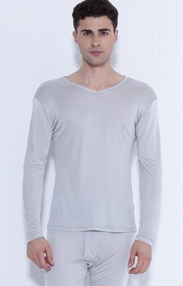 100% hochwertigen reinen silk unterwäsche männer anzug dünne V kragen 3 - 2