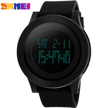 2016 SKMEI popular brand watches man sport digtal LED wristwatches 50m waterproof black dials date week display rubber band