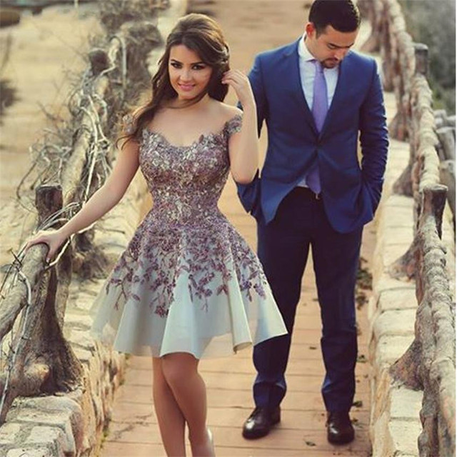 Appliques lace flowers Cocktail Dresses Knee-Length High-end refined Cocktail Party Prom dress 2017 New YY158