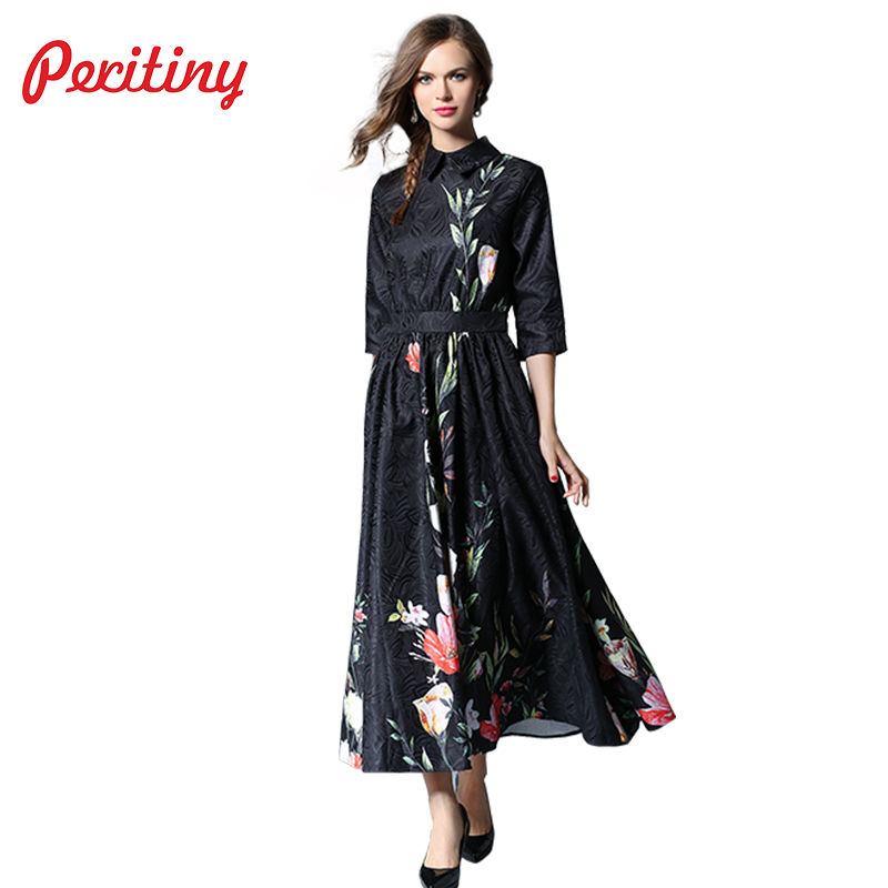 Peritiny 2018 Long Dress Women Three Quarter Sleeve Floral Maxi Dress Mujer Summer Dresses Vintage vestidos longos de verao