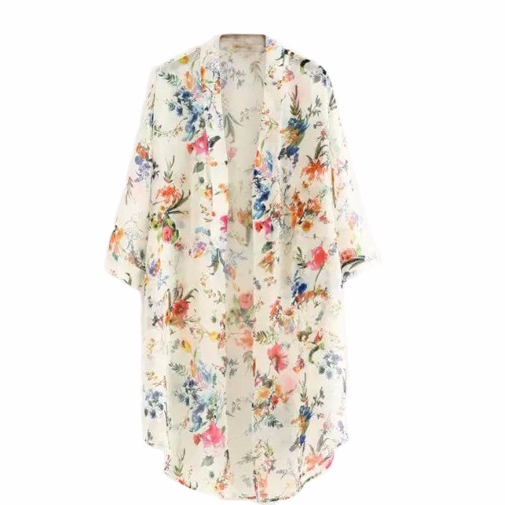 Musim panas Wanita Kemeja Sifon Perlindungan Matahari Floral Kasual Panjang  Blus Atasan RZ01 180ccc1669