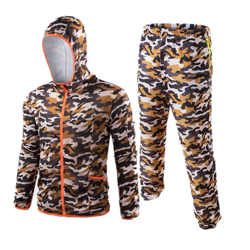New 2018 Camo orange Outdoor fishing clothes breathable quick dry Anti Sai UV Anti mosquit long sleeve hooded fishing Shirts 6XL