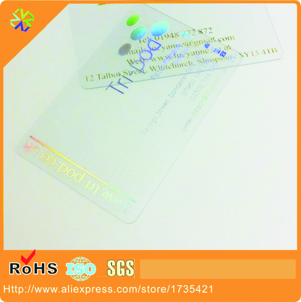 (1000pcs/lot) ISO90001 Certified Customized Printable Transparent Pvc Card