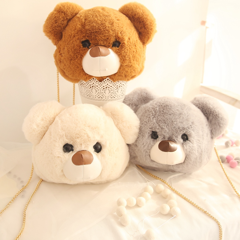 35cm New Teddy Bear Face Plush Bag Cartoon Plush Bear Tote Bag Handbag Girl Kids Shoulder Bag bolsa cara de oso