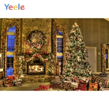 Yeele Merry Christmas Photography Backdrops Vintage House Gift Kids Tree Fireplace Photographic Background For Photo Studio