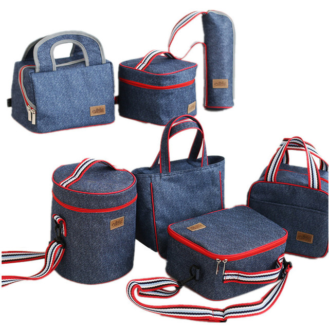 Denim Insulation Lunch Bag Kid School Bento Box Insulated Cooler Pouch  Weekend Picnic Drink Food Thermal 34acc876752b