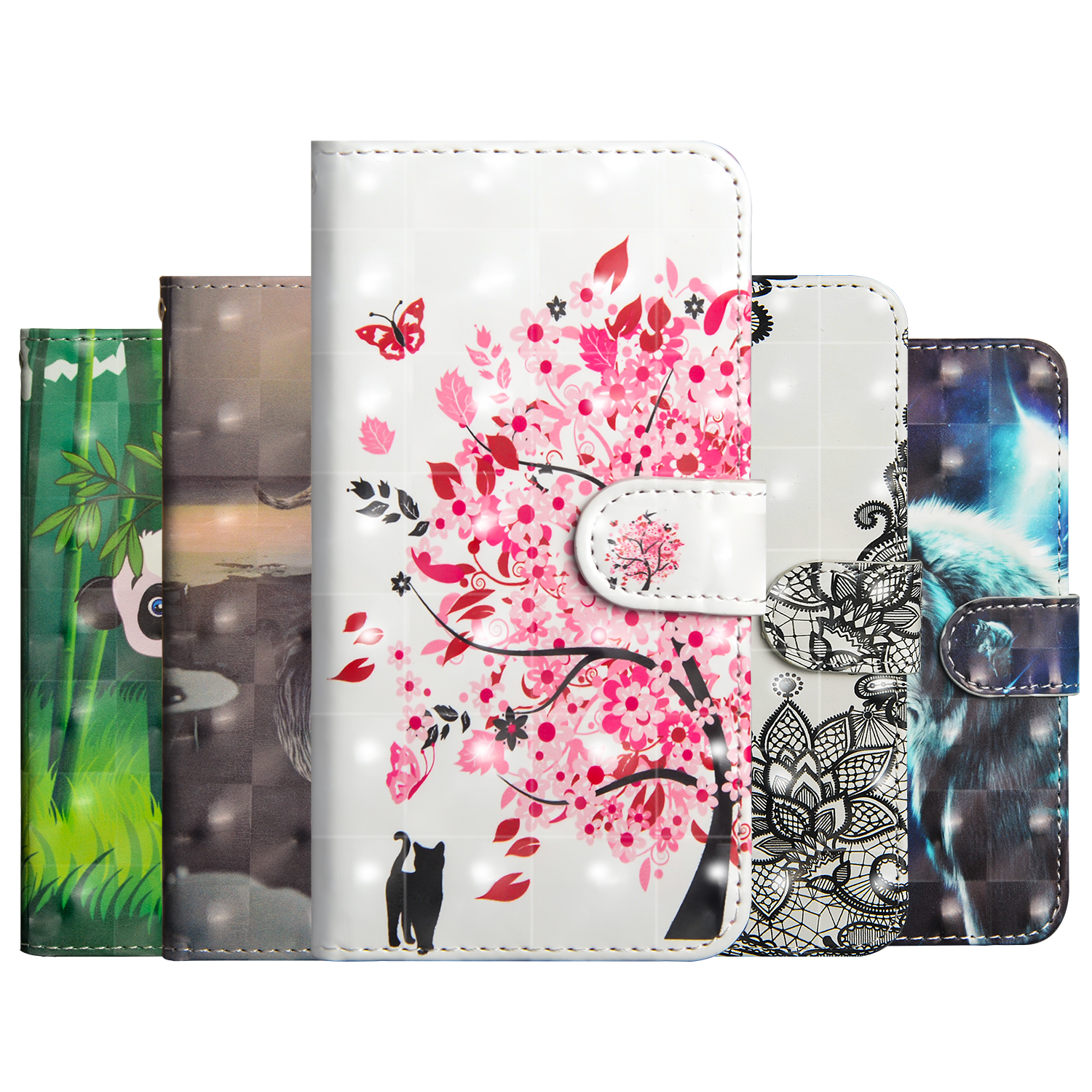 Fashion clamshell wallet case for Xiaomi 8 SE Redmi 6 Pro note7 PLAY 3D holder phone