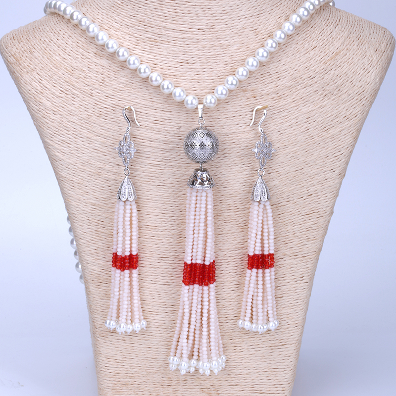 New Bohemia Boho Long Tassel with Studs top Earring and Peal Beads Chain Long Tassel Pendant Necklace Jewelry Set for Women