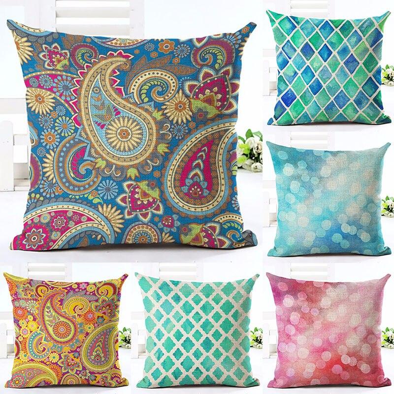 Colorful Paisley Printed Cotton Linen Pillowcase Decorative Pillows Cushion Use For Home Sofa Car Office Almofadas Cojines