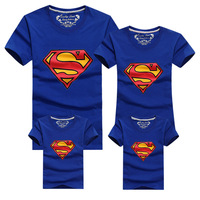 New Family Look Superman T Shirts 10 Colors Summer Family Matching Clothes Mom Dad Son Daughter