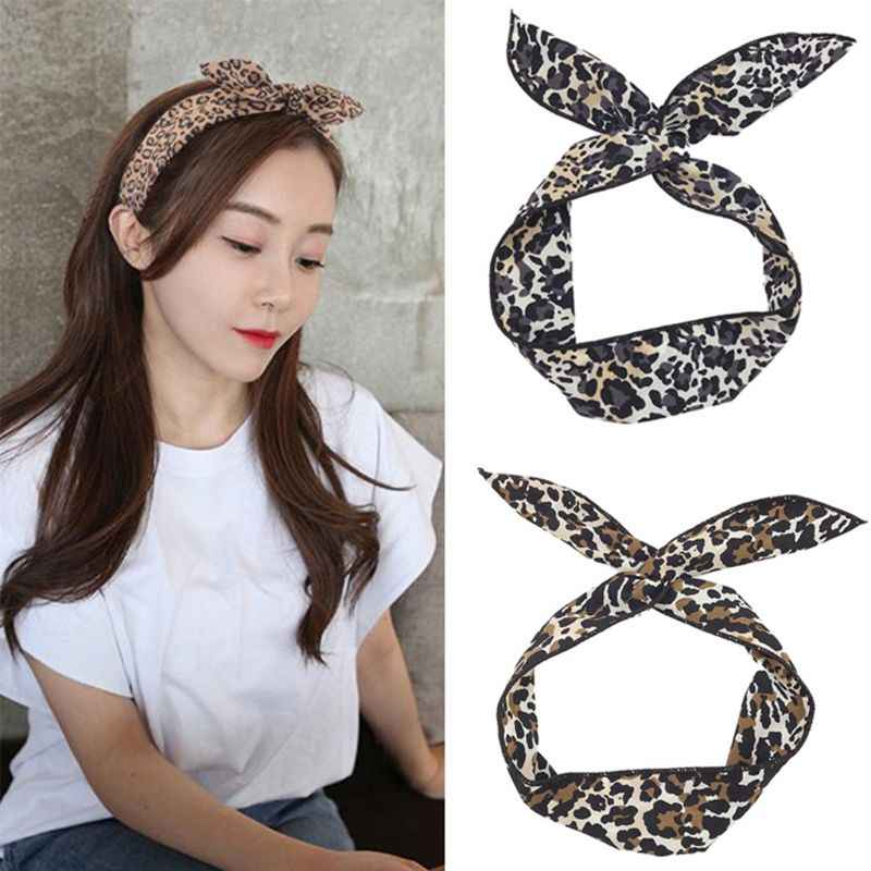 Women Girls Rabbit Ears Iron Wire Hairband Leopard Printed Colorful Bow Headband Elastic Twist Casual Sport Dancing Turban