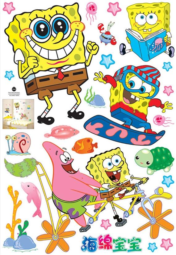 aliexpress com buy removable pvc spongebob wall sticker removable cartoon super mario bros wall stickers