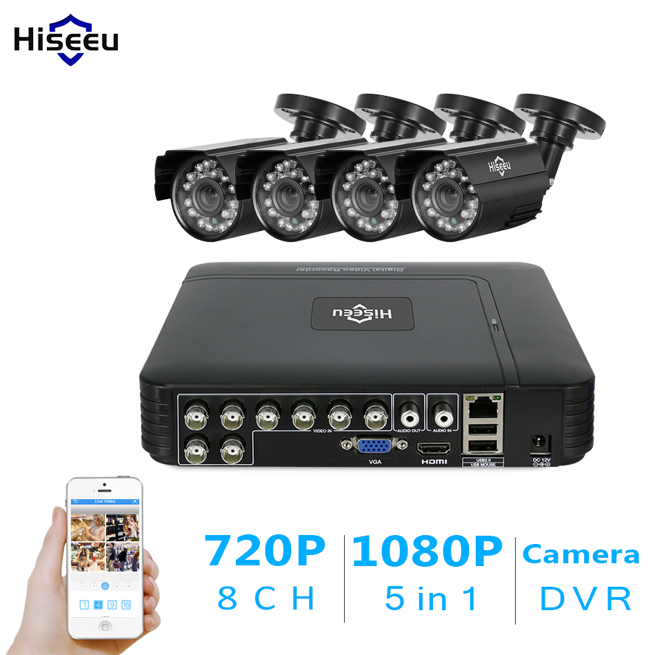 Hiseeu 8CH AHD 5 IN 1 DVR CCTV Camera System 4pcs 720P AHD Weatherproof IR Camera outdoor 1.0MP home security Surveillance Kit