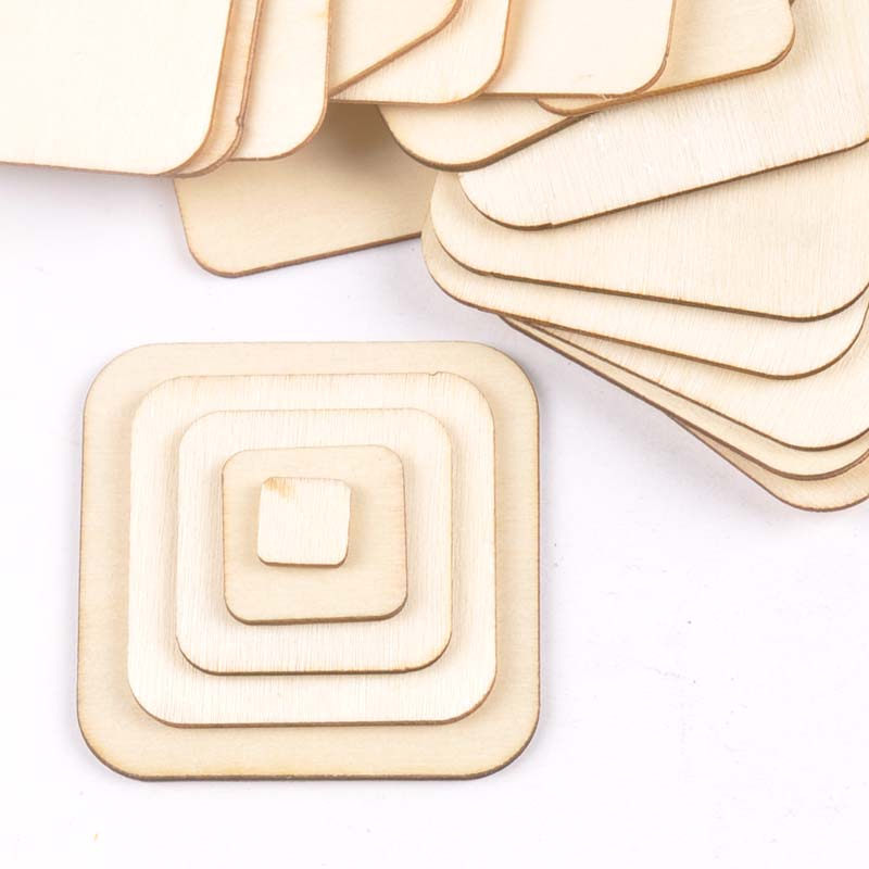 Mix 50pcs Square Unfinished Wooden Slices Crafts Wood DIY Home Decor Accessories Handmade Scrapbooking 10/20/30/40/50mm M1889