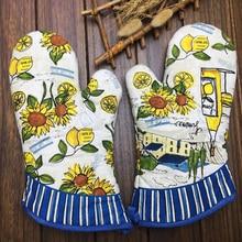 1 пара прихваток для духовки лимон и дизайн: подсолнечник перчатки для духовки эффективно держатель кастрюли изолированные перчатки кухонная посуда