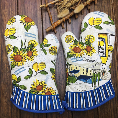1 Pair Oven Mitts Lemon And Sunflower Design Oven Gloves Effectively Pot Holder Insulated Gloves Kitchen Ware