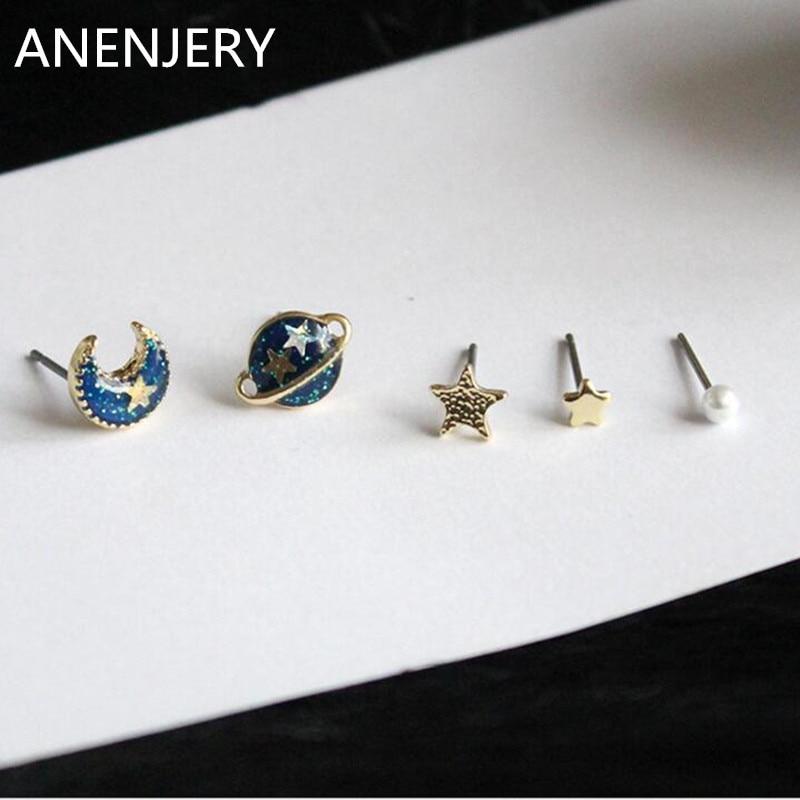 Anenjery zīmolu modes 5PCS / komplekts Upscale Universe Planet Moon Star Zvaigžņu imitācijas pērle Mini Stud auskari, kas izgatavoti no brincos pendientes E358