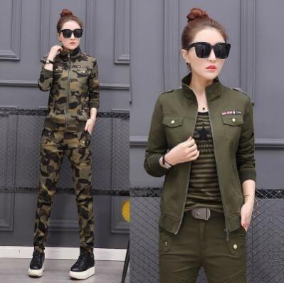 2018 Plus Size Conjunto Feminino Womens Cotton Casual Camouflage/Army Green Sportsuit Tw ...