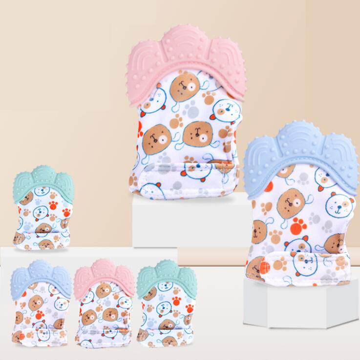 Baby Teething Glove SiliconeTeething Mitten Cartoon Bear Newborn Nursing Silicone Teether Mitt 1 Piece