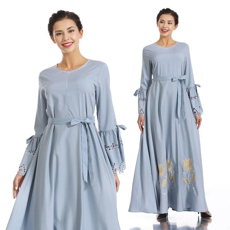 Brodé hijab robe Nation musulmane robe complète jupe Longuette Ash robe femme dinde elbise indonésie marocain eau abaya