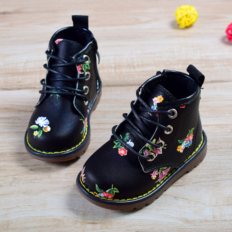 Hot Sale 2018 New Spring/Autumn Children Rubber Boots Leather Non-slip Boots For Girls  Waterproof Fashion Kids Boots Size 21-30