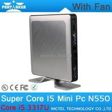 4G RAM 128G SSD Partaker N550 Linux Thin Client Mini PC Case with Intel Core I5 3317U Mini Tablet PC ITX