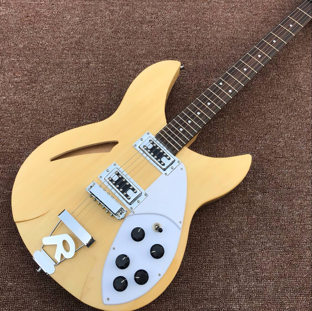 2017 Chinese Electric Guitars Ukelele Natural Color Ricken Back Style 6 String Semi-hollow Jazz Neck With Mahoga Real Photos,