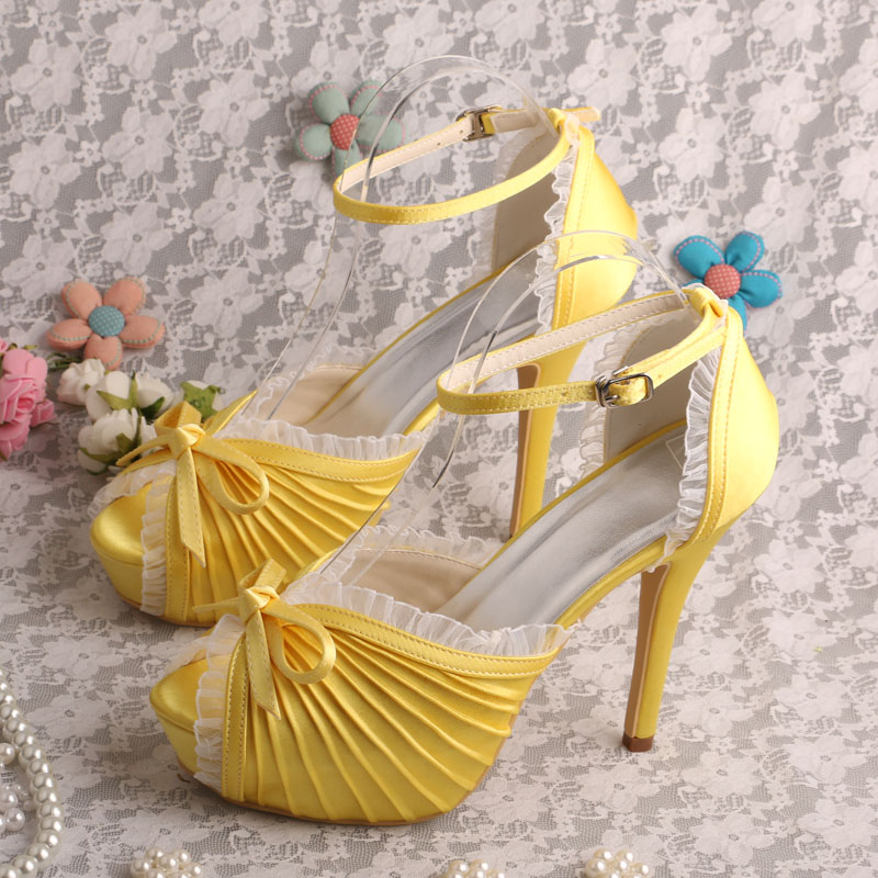yellow shoes for wedding popular yellow satin heels buy cheap yellow satin heels 1522