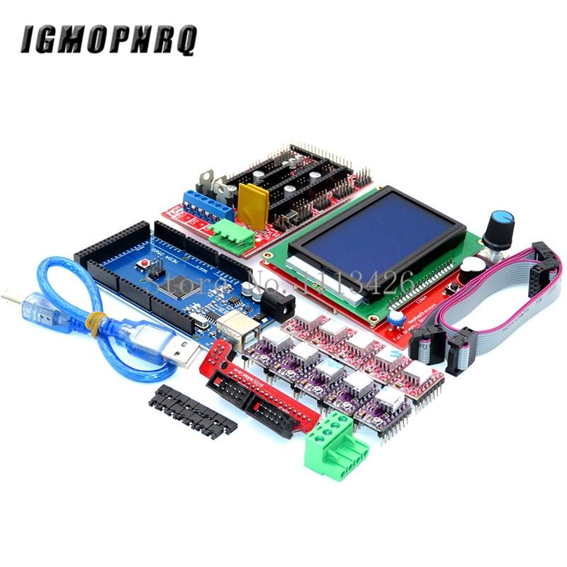 Mega 2560 R3 CH340+1pcs RAMPS 1.4 Controller+5pcs A4988/DRV8825 Stepper Driver Module+1pcs 12864 Controller For 3D Printer Kit