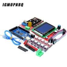 Controlador de passo mega 2560 r3 ch340 + 1 un., controlador de 1.4 + 5 peças, a4988/drv8825, módulo + driver de passo controlador 12864 para kit de impressora 3d, 1 peça