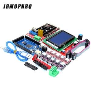 Image 1 - Mega 2560 R3 CH340+1pcs RAMPS 1.4 Controller+5pcs A4988/DRV8825 Stepper Driver Module+1pcs 12864 controller for 3D Printer kit