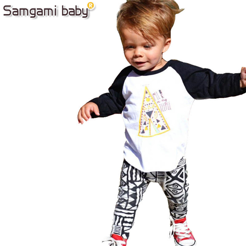 SAMGAMI BABY New 2018 Baby boy clothes 2 pcs Sleeved T-shirt + Pants Outfit Costume Chidren Clothing Set boys Spring and Autumn